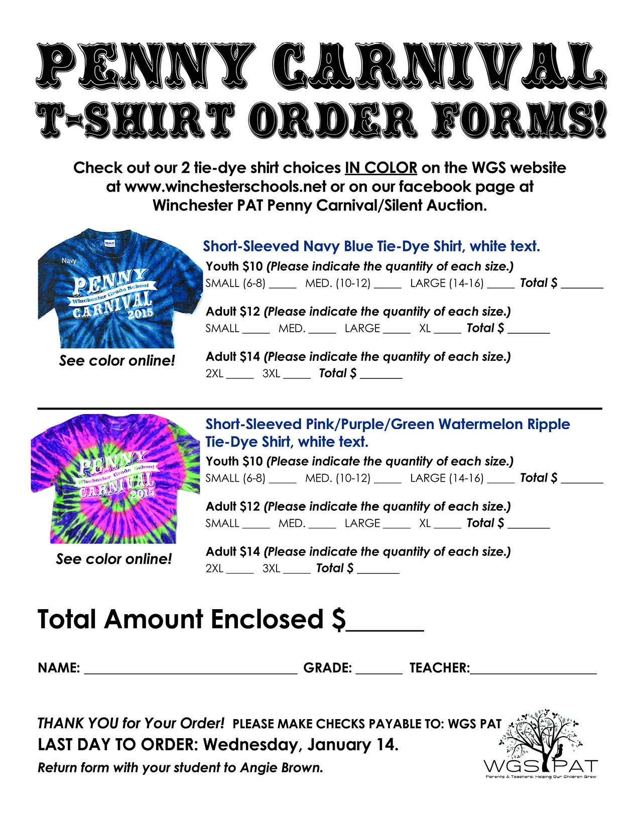 Winchester Schools Pat T Shirt Order Forms